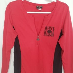 Hadley Davidson Red/Black Half Zip Sweater